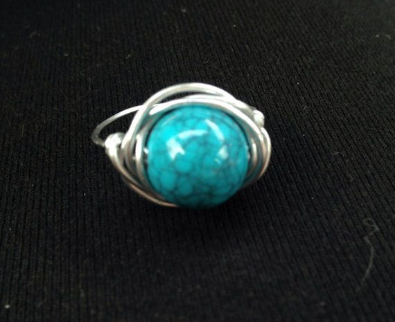 Turquoise and Silver Wire Wrapped Ring bead by SoSheDidShop