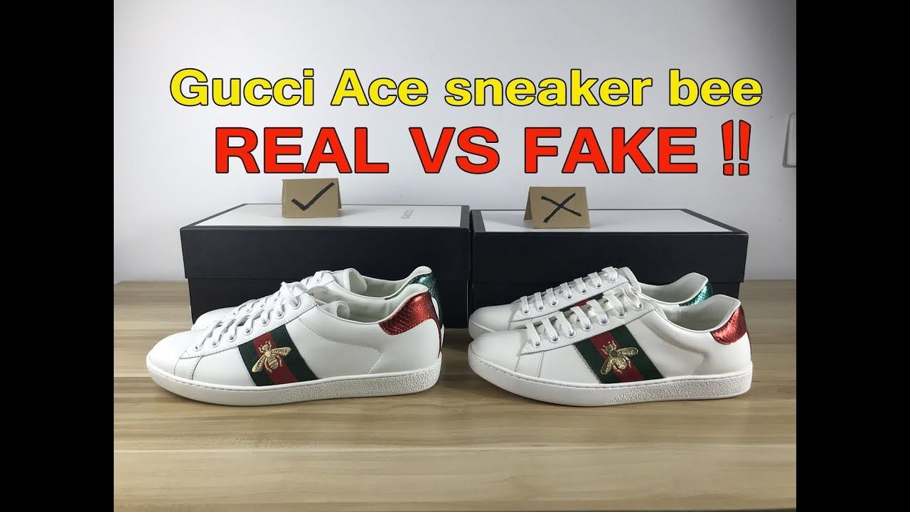 ab36ffbe542c6 REAL VS FAKE Gucci Ace sneaker compare