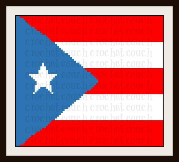 Puerto Rico Flag Afghan C2C Graph Written Word by CrochetCouch | C2C ...