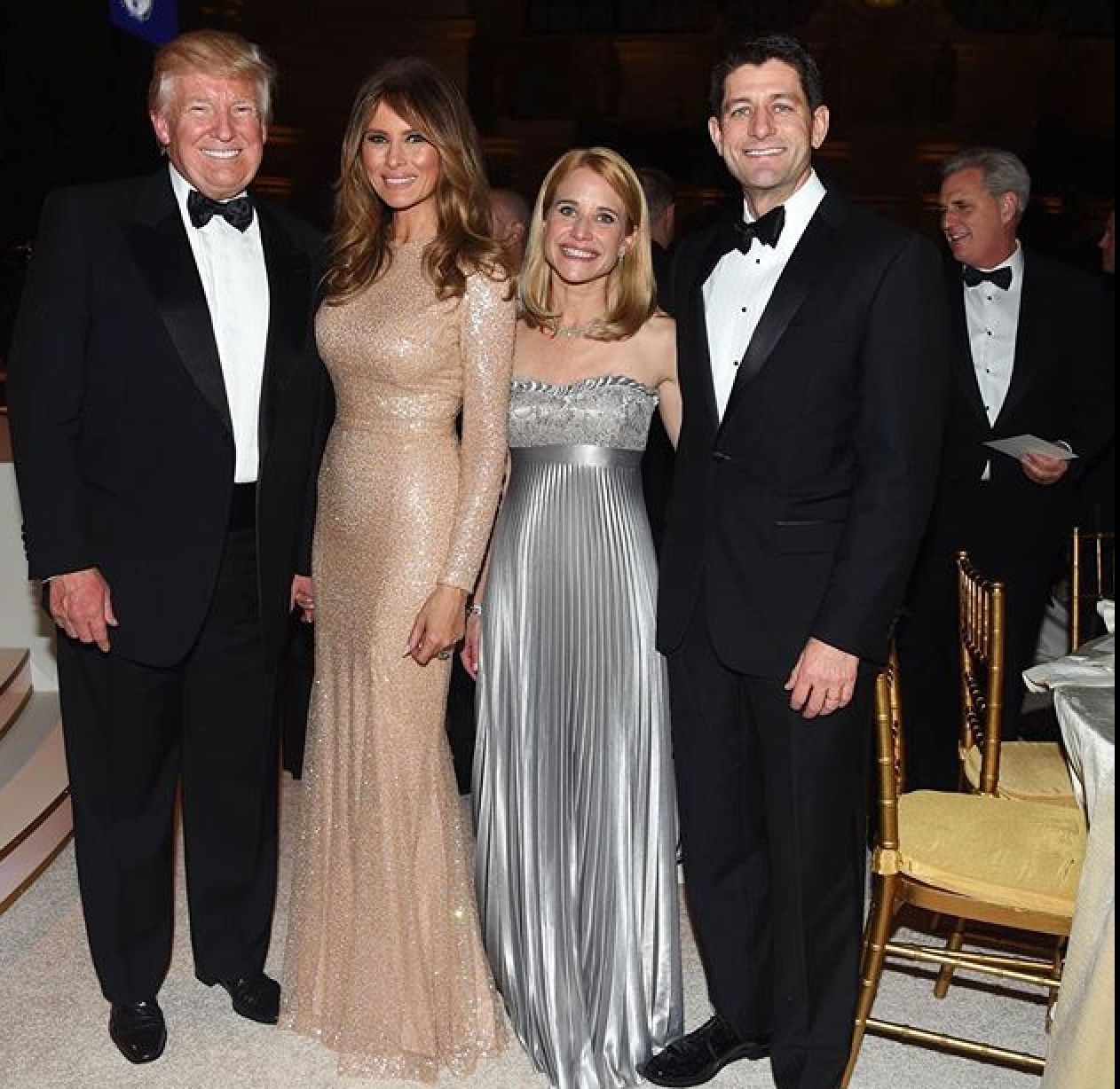 President-Elect Donald Trump First Lady Melania Trump With Janna Ryan And  Speaker Paul Ryan
