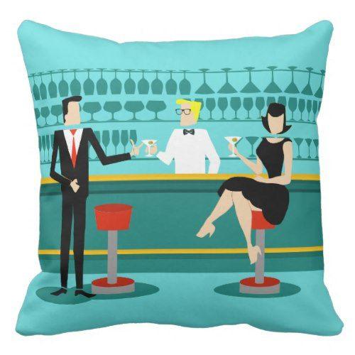 Retro Cocktail Lounge Throw Pillow