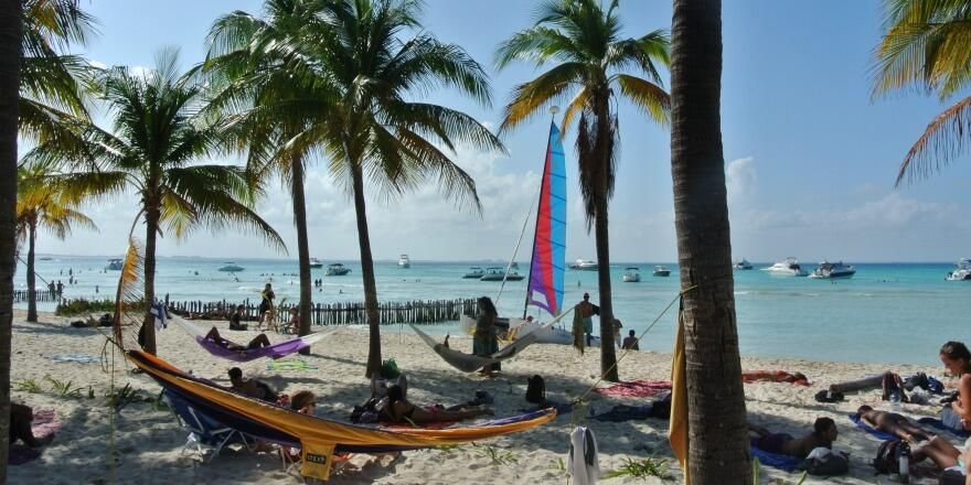 Isla Mujeres beach a short ferry ride from Cancun