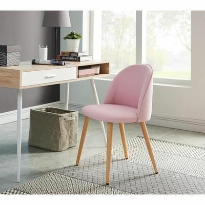 macaron chaise de salle manger pieds bois htre massif revtement tissu rose pastel style scandinave l 50 x p 50 cm