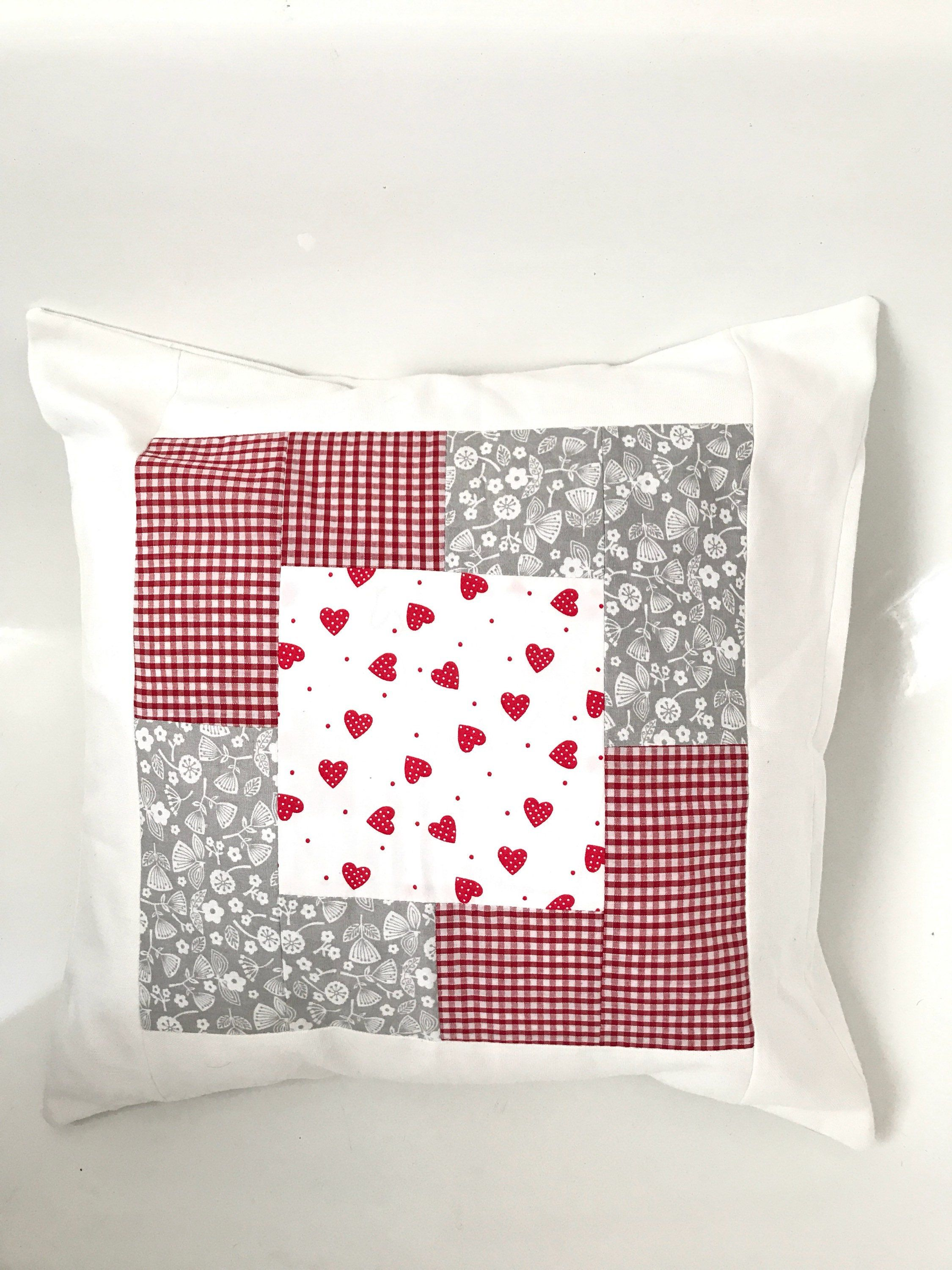 Boho pillow patchwork scatter cushion vintage look red gingham
