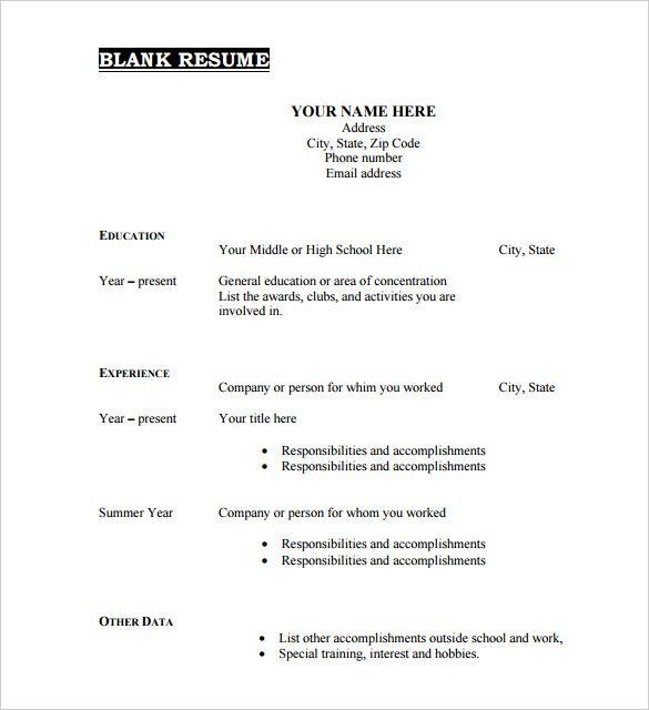 Free Resume Templates Blank Blank Freeresumetemplates Resume Templates Free Printable Resume Downloadable Resume Template Free Printable Resume Templates