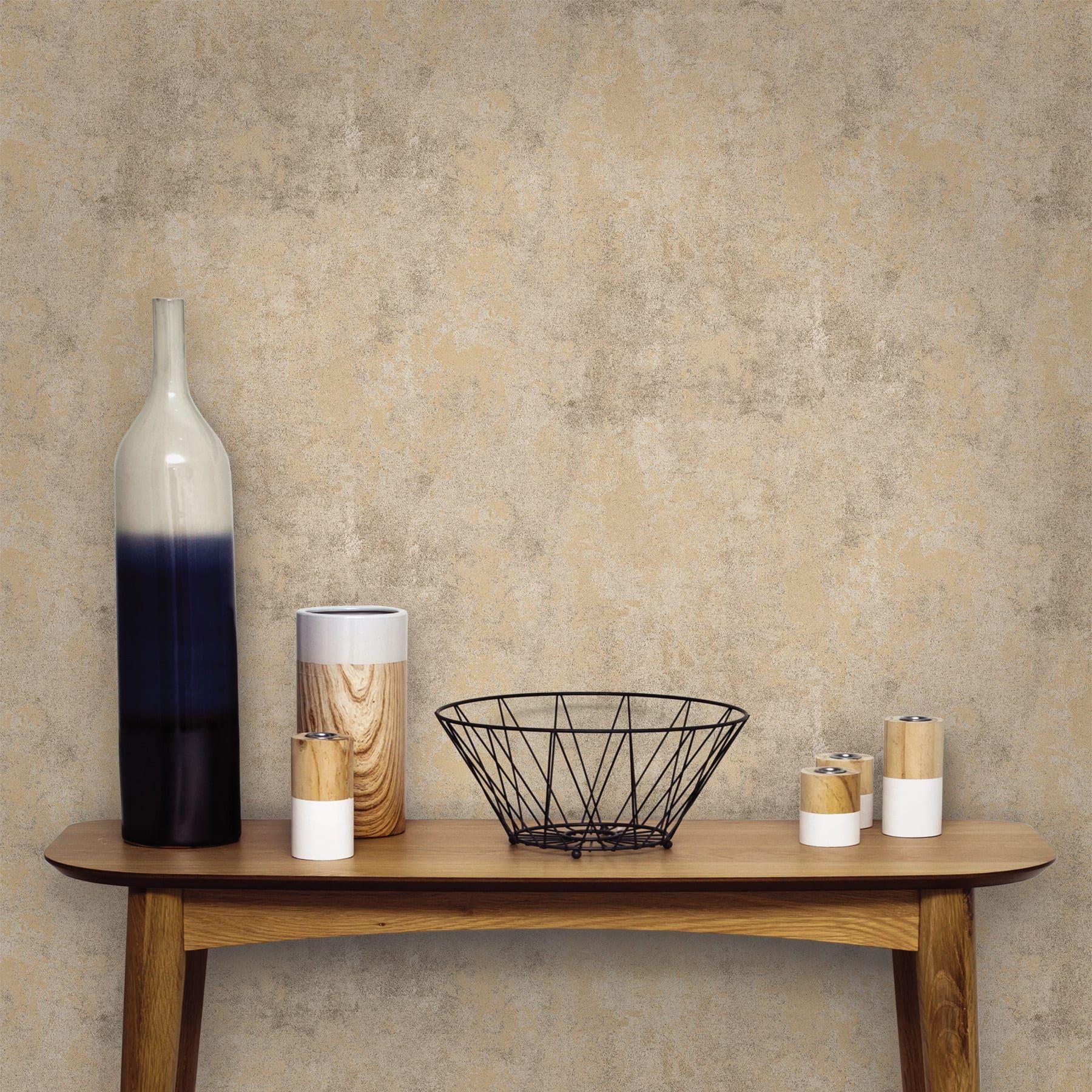 Papel De Parede Vinilico Cimento Queimado Dourado Rolo Com 10m