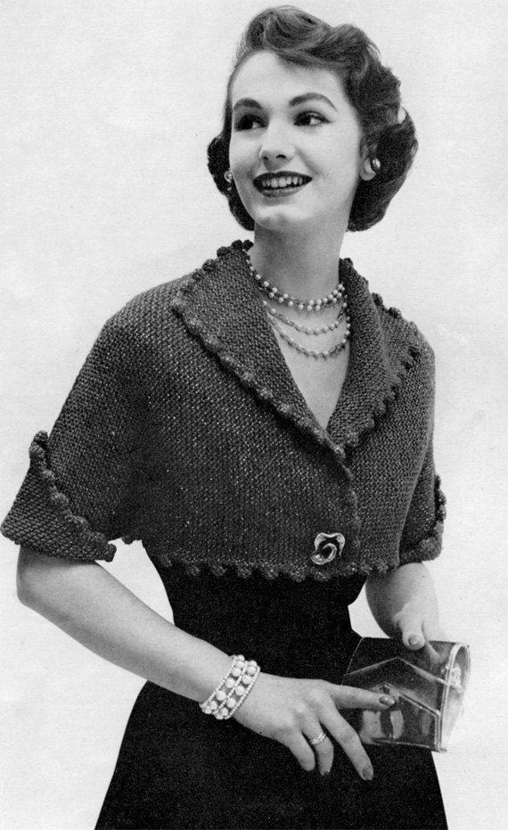 1950s Bolero Jacket, Vintage Knitting Pattern - Digital PDF E-Book