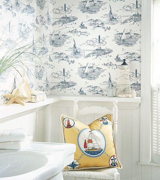 Blue and white nautical Thibaut wallpaper. When I want that ocean feeling in every room!