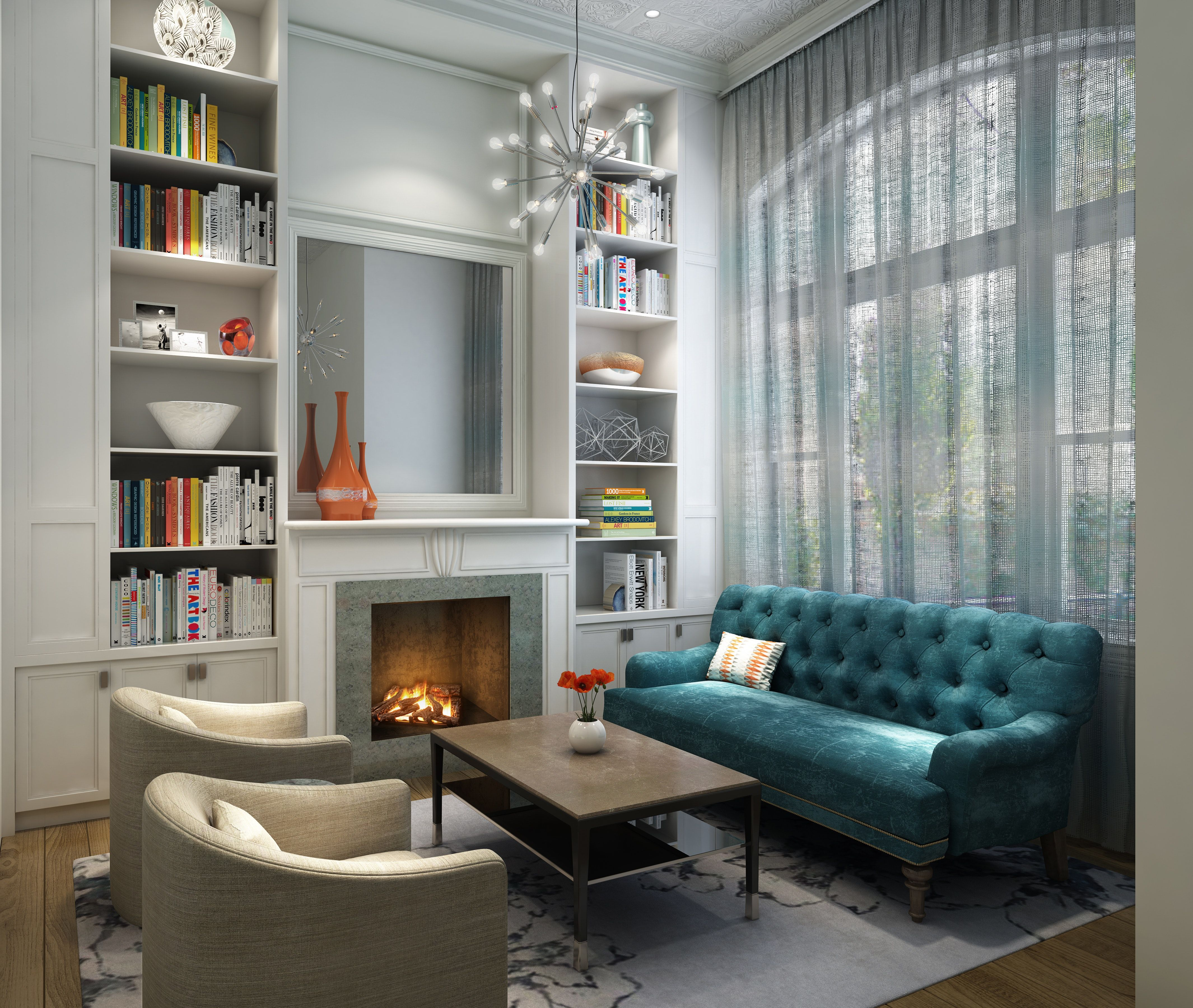 Chicago Lincoln Park Townhome Formal Living Room custom