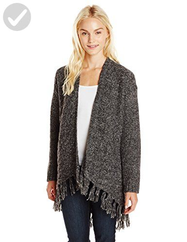 83e77826a Kensie Women's Comfy Knit Open Sweater with Fringe, Charcoal Combo, Small -  All about women (*Amazon Partner-Link)