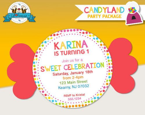Cute Candy Theme Party Invitation Google Search Birthday