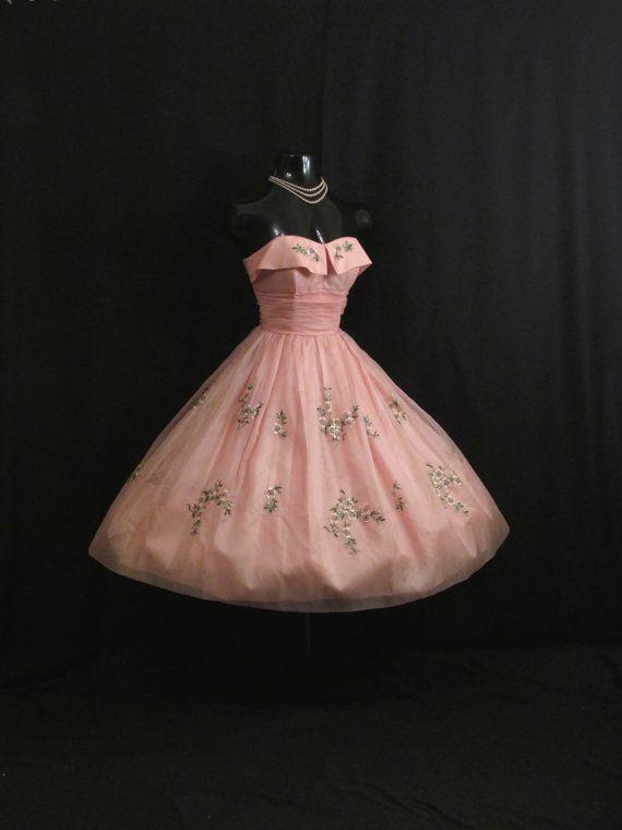 Vintage 1950\'s 50s Cupcake Strapless PINK Silk Chiffon Organza ...