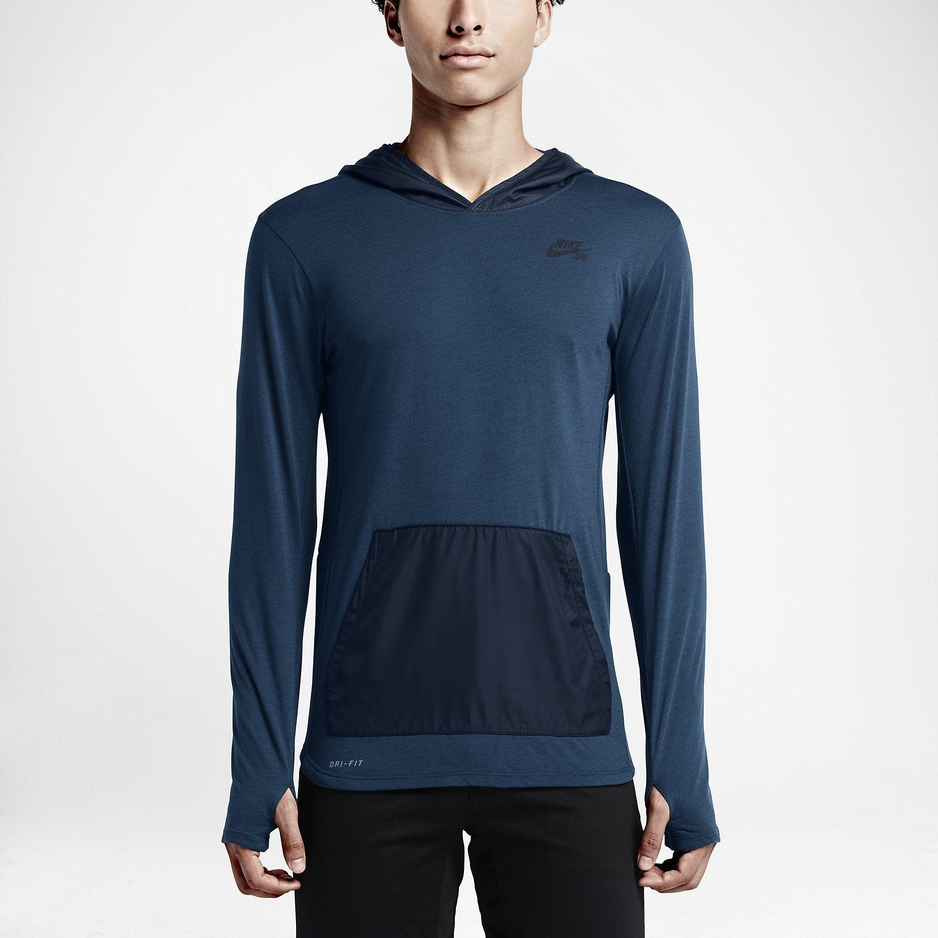 Nike SB Skyline Overlay Pullover Men's Hoodie, Squadron Blue/Dark Obsidian/