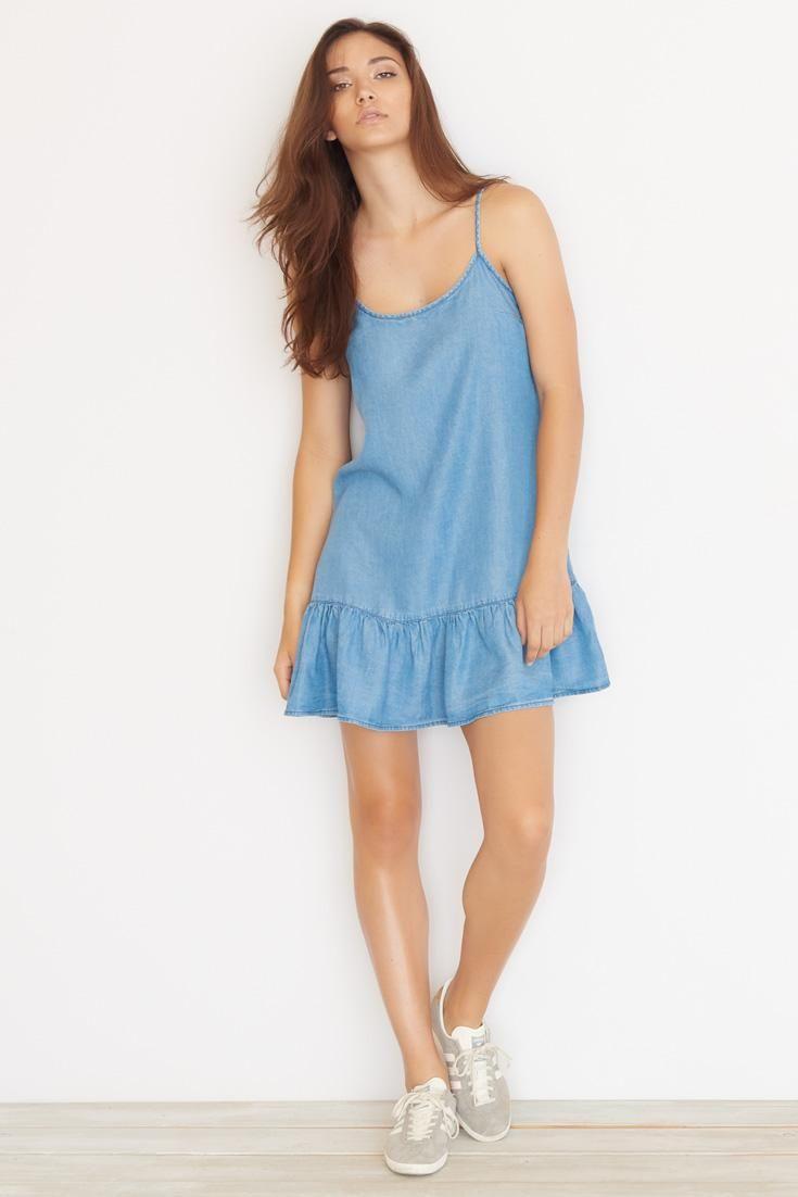 d5b57a89daf89 Tencel Swing Dress. Dress Robes, Jeans Dress, Swing Dress, Bae, Rompers