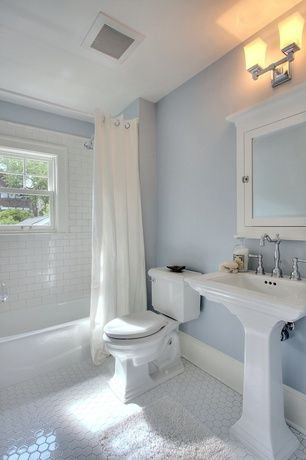 Cottage Full Bathroom With Paint Shower Bath Combo Pedestal Sink Penny Tile Floors Curtain Showerdoor