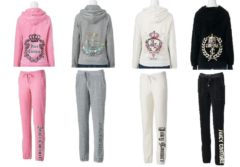 Nwt Authentic Juicy Couture Tracksuits Women S Embellished Velour Hoodie Pants Tracksuit Women Embellished Hoodie Juicy Couture Clothes