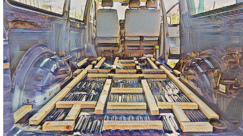 Der Fussboden Wird Konstruiert Eine Holzunterkonstruktion Wird Erstellt Und Der Karosserieboden Mit Armaflex Gedammt Darauf Wird Ei In 2020 Bodenplatten Ausbau Camper