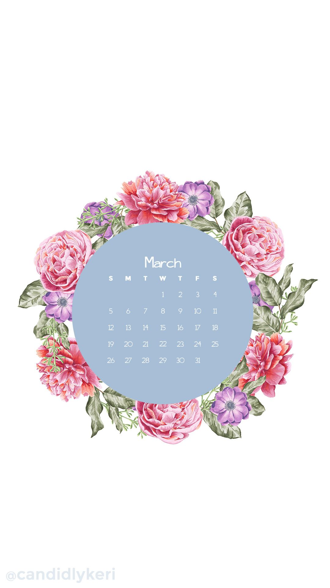 Wallpaper download blog - Flower Crown Pink Flower March Calendar 2017 Wallpaper You Can Download For Free On The Blog