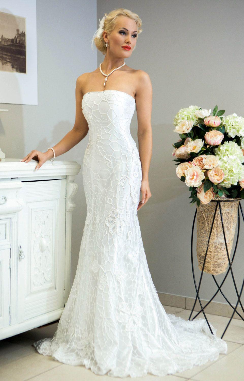 etsy wedding dresses Crochet Wedding Dress Miss Evita crochet wedding dress by LaimInga on Etsy