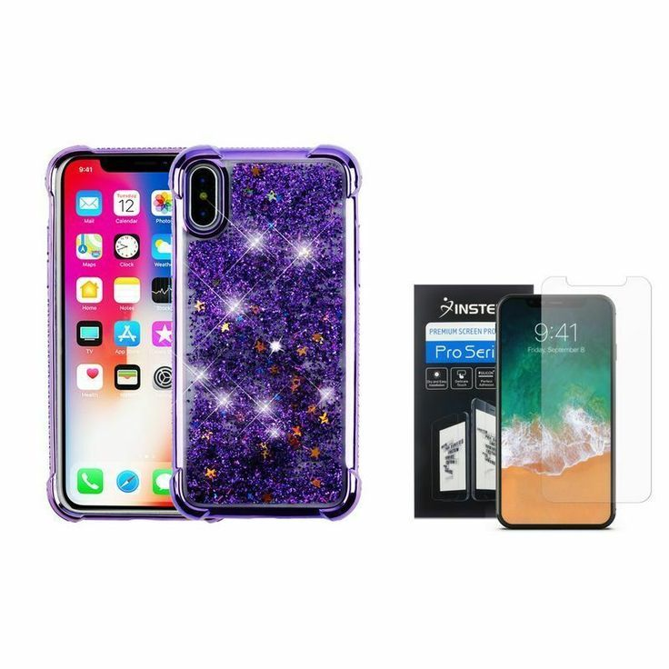For apple iphone xs x glitter case cover purple