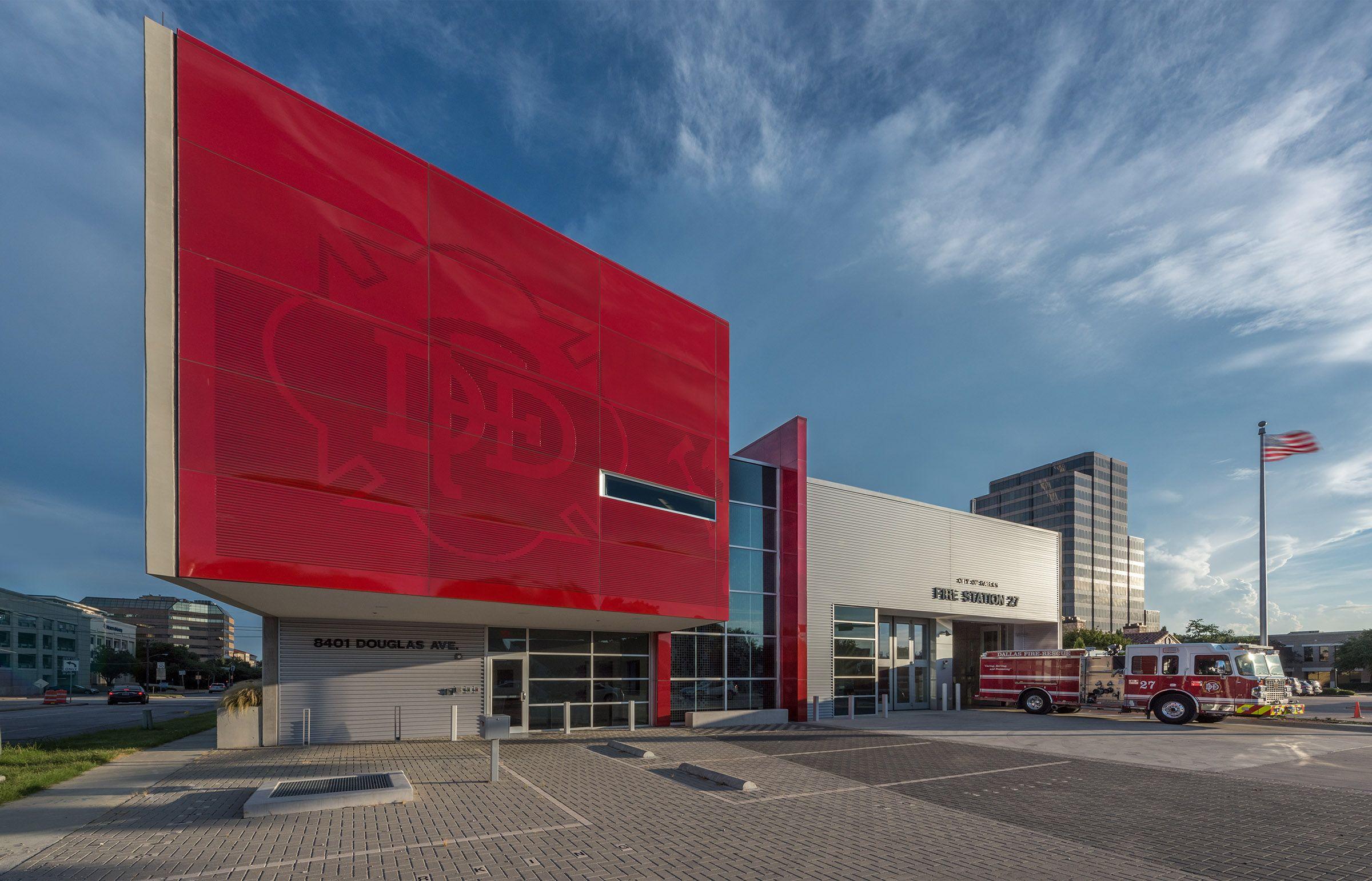Dallas fire station 27 perkins will firehouses architecture color fire concrete