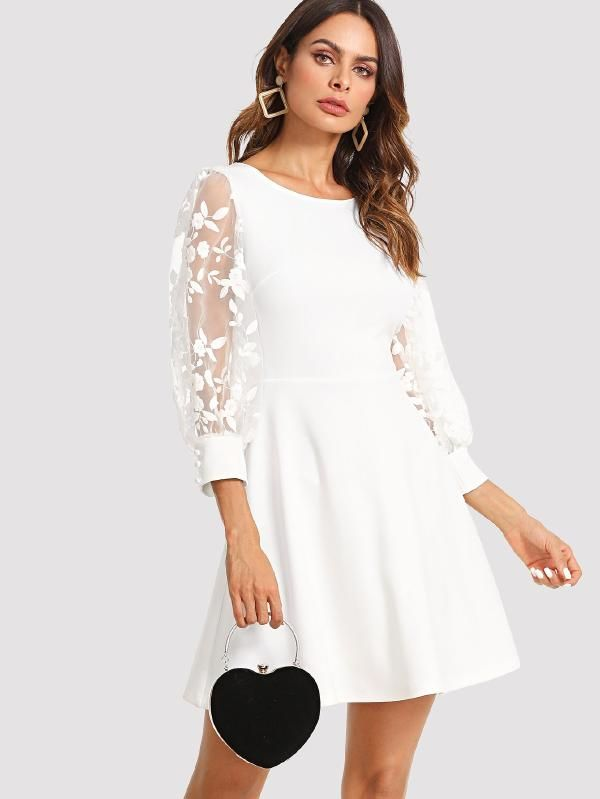 Embroidered Mesh Bishop Sleeve Fit Flare Dress Shein Sheinside White Dresses For Women Fit Flare Dress White Dress With Sleeves
