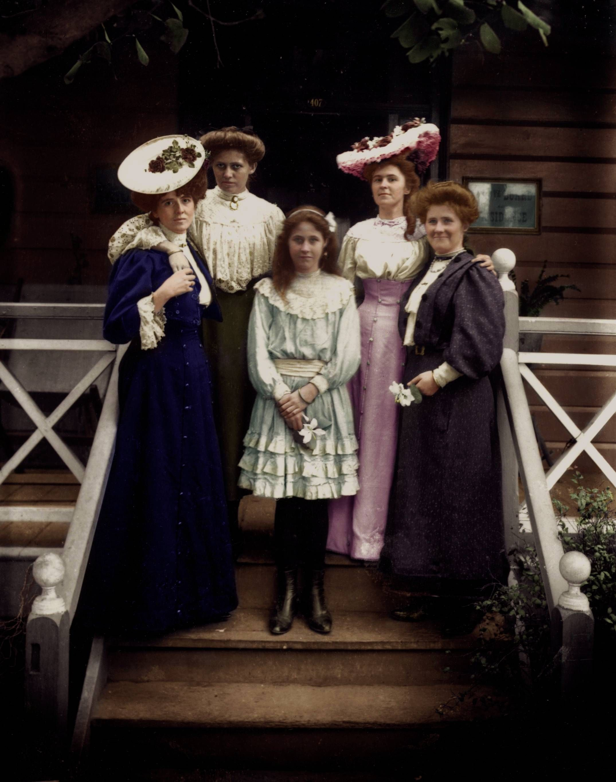 19th century women. (Colorized Photo). Vintage