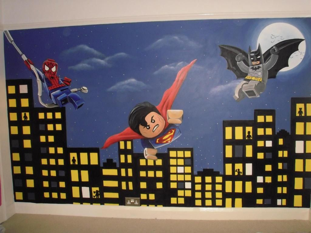 Lego superhero dc marvel spiderman batman superman for Batman mural wallpaper uk