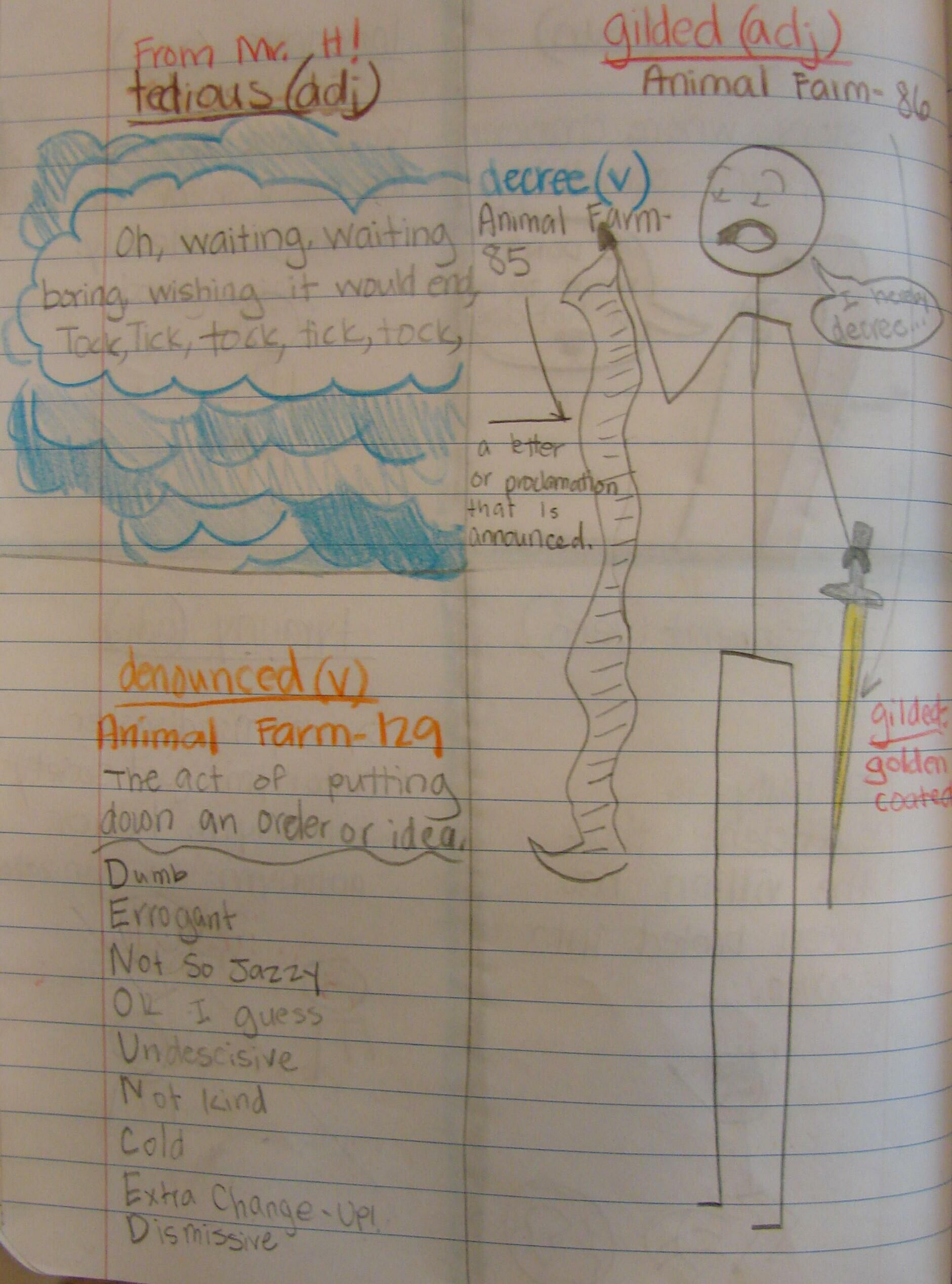 "I liked how Rebekkah's Mr. Stick cartoon here captured two of her vocabulary words from ""Animal Farm.""  I love it when my students think outside the box.  Check out my vocabulary resources online here: http://corbettharrison.com/Vocabulary.htm"