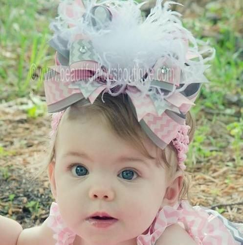 Pink Chevron Over The Top Hair Bow