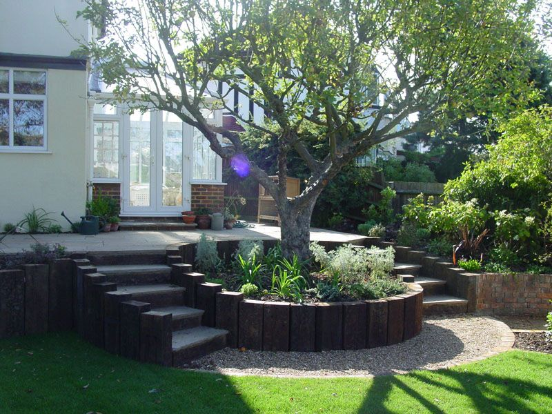 Steps And Retaining Walls Sloped Garden Garden Retaining Wall Garden Steps