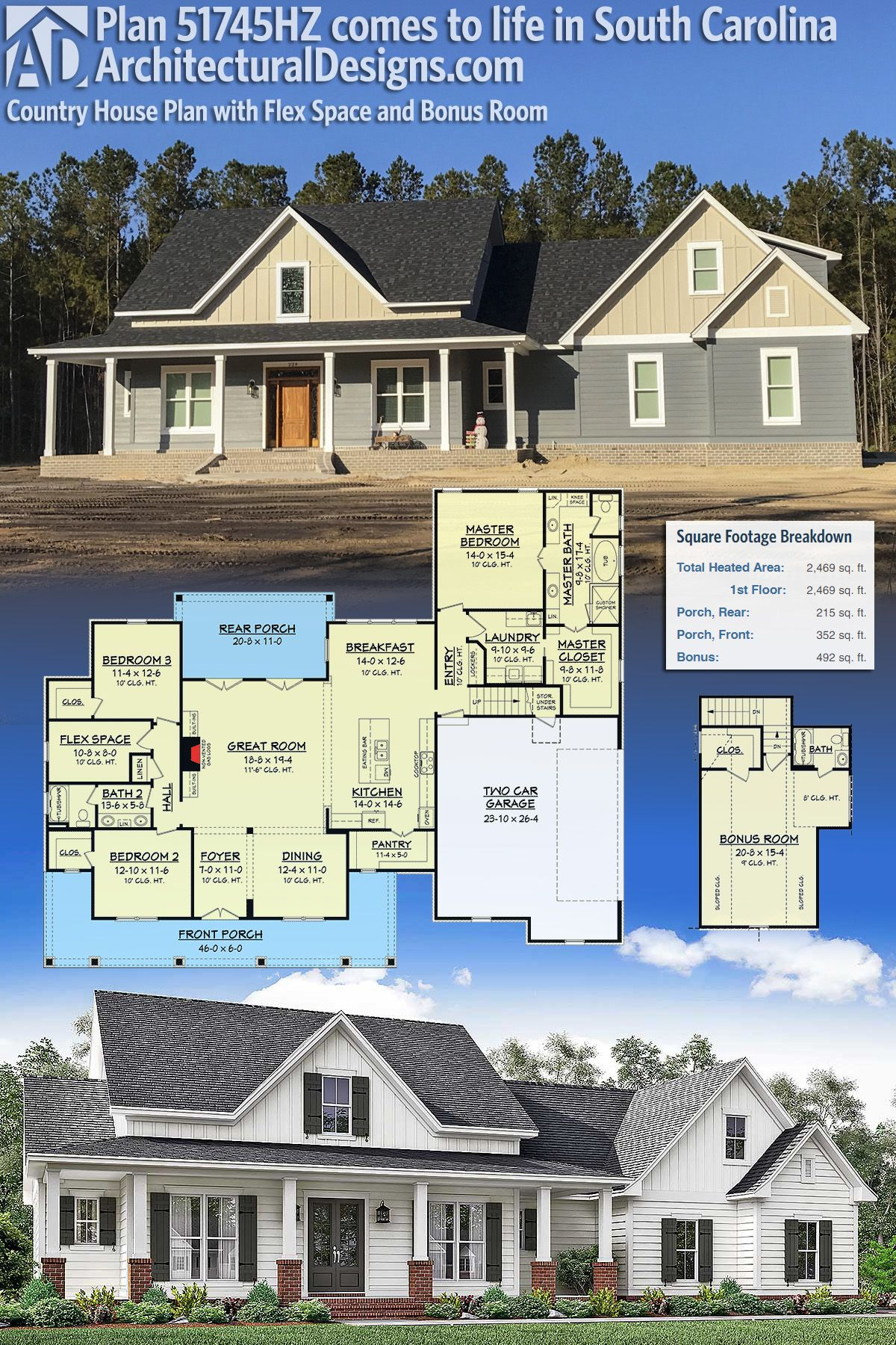 Our client built architectural designs modern farmhouse plan 51745hz in south carolina this house gives you 3 beds 2 baths and over 2400 square feet of
