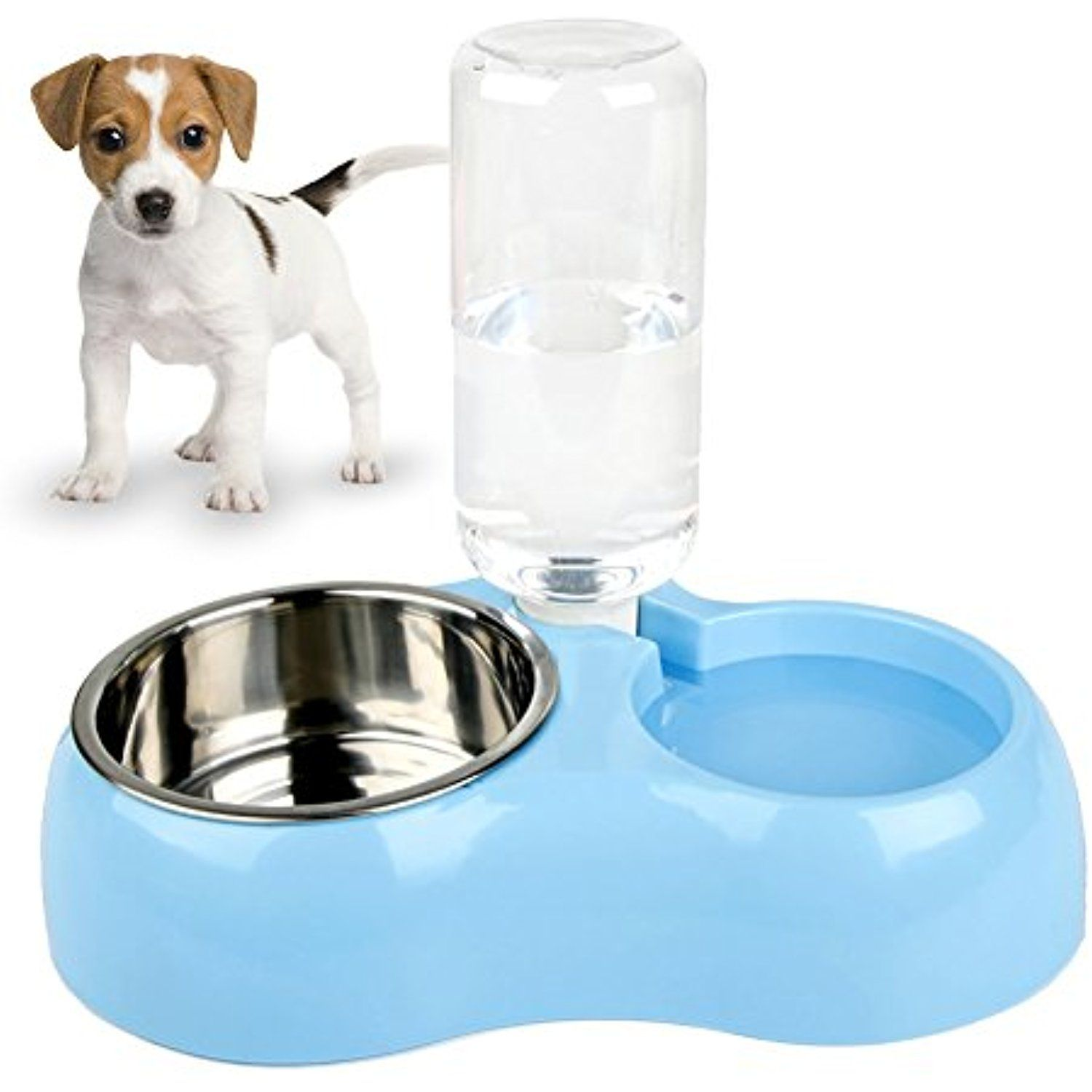 Removable Dog Water Bowls Euow Stainless Steel Double Food Bottles With Automatic Water Dispenser No Spill And Non Skid Dog Water Bowls Cat Food Dish Dog Cat