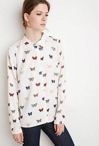 59b350459e Butterfly Print Shirt | Forever 21 - 2000172154 | style. | Printed ...