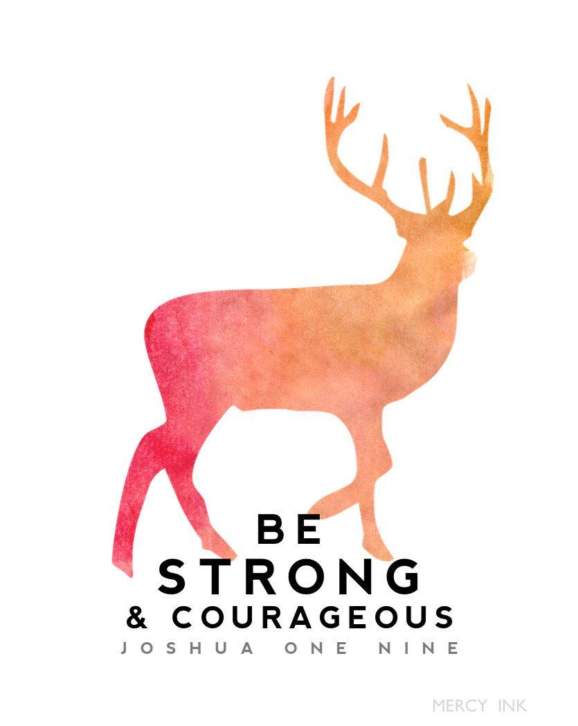 Be Strong Deer Watercolor Watercolour Nursery Prints Scripture Print Watercolor Nursery