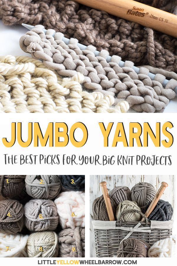 Info's : Six jumbo yarns to use in all your big knit projects.  If you're wondering what jumbo yarns are the thickest and best to use for your chunky knit project, check out these yarns.  We knitted them all up and listed out all the pros and cons of each one so you didn't have to. #yarn #jumboyarn #bigknit #chunkyknit #knitting #crochet #jumboyarnprojects #redheart #bernat #lionbrand