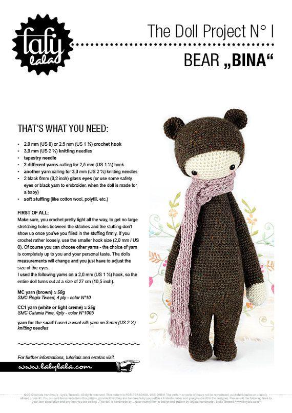 BINA the bear • lalylala crochet pattern / amigurumi | Pinterest ...