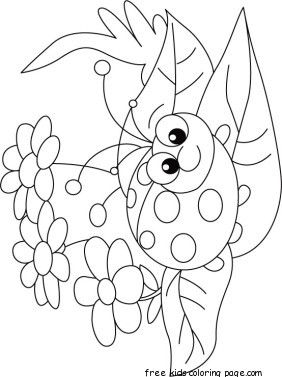 Print Out Happy Face Ladybug Coloring Page
