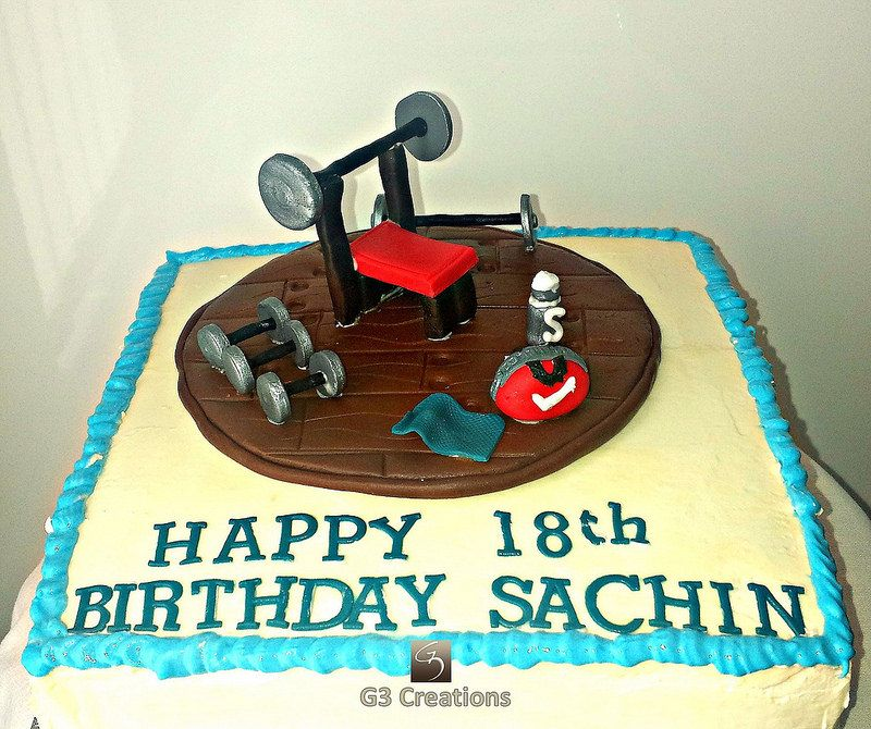 Sports Gym Birthday Cake 18th Made For A Young Man Who Loves Sport And Going To The Work Out With Apparatus