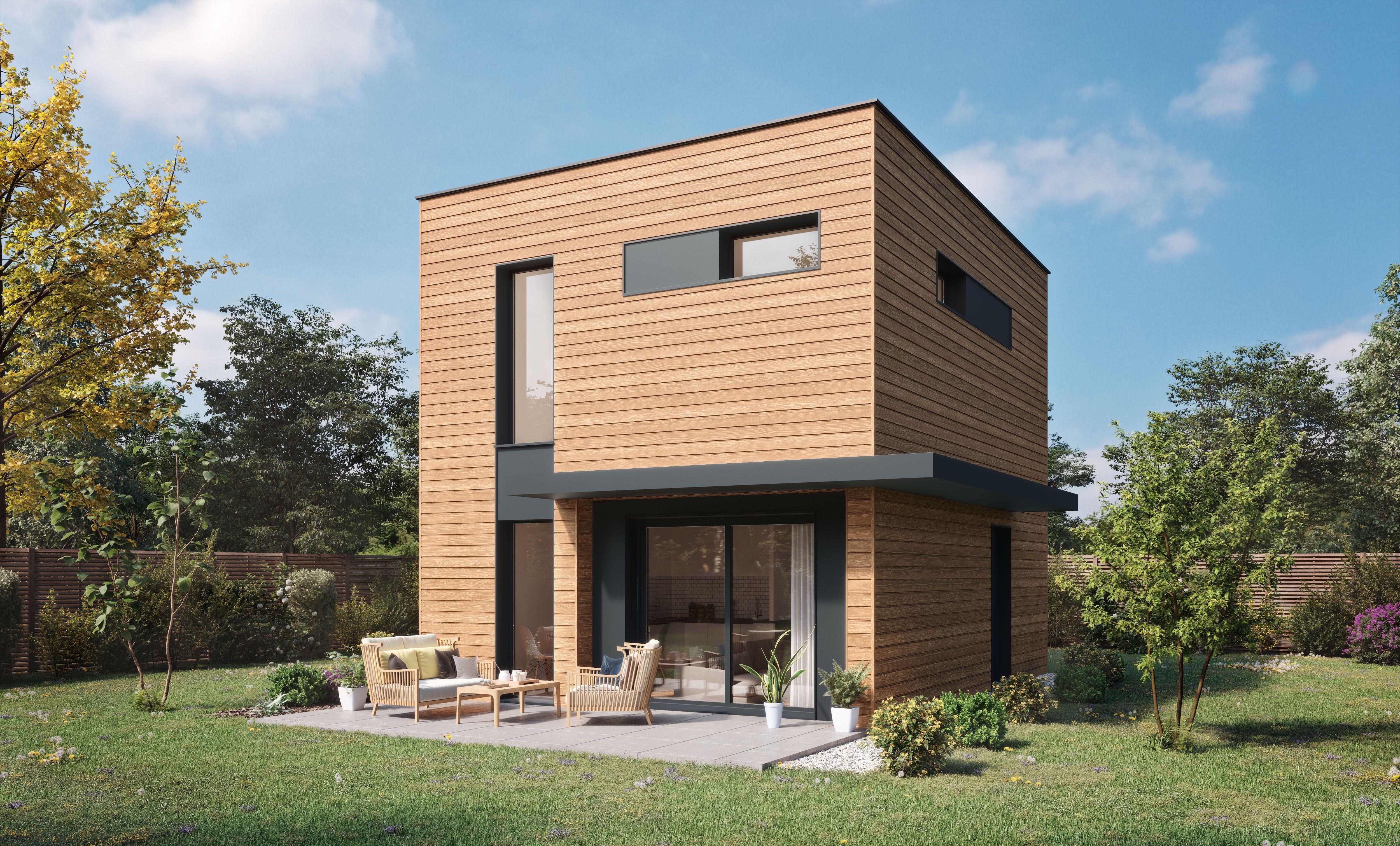 Maison moderne à ossature bois & bardage bois en 2020 | Maison ossature bois, Constructeur ...
