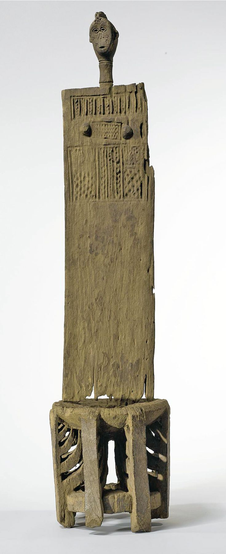 Africa | Throne from the Kwere people of eastern Tanzania | Wood; aged varied light brown patina