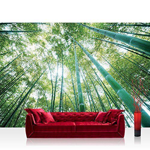 Fototapete 254x168 Cm Premium Wand Foto Tapete Wand Bild Papiertapete Wald Tapete Wald Baume Himmel Bambus Natur Grun No Wandtapete Fototapete Wald Tapete