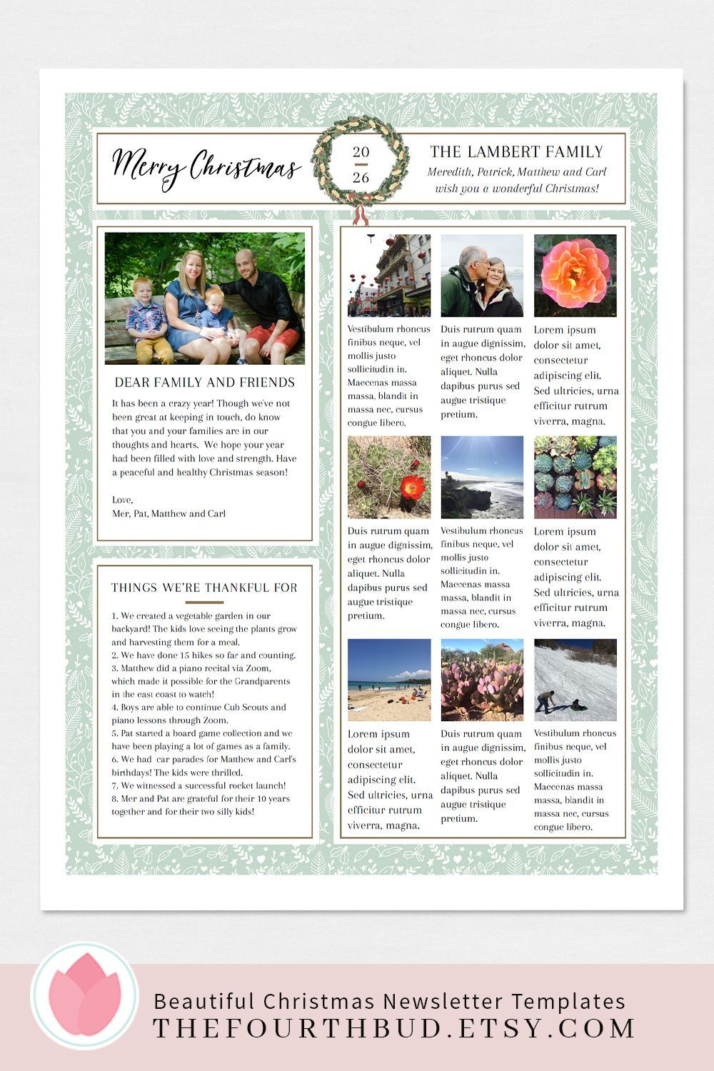 Christmas newsletter template elegant year in review