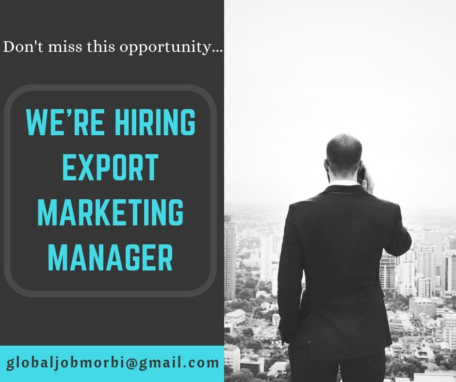 We are Urgently Hiring Candidate for the post of Export