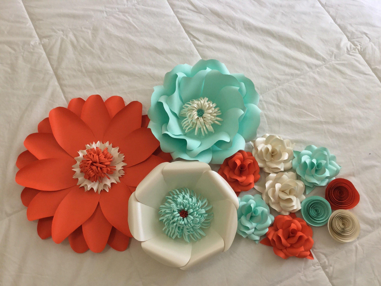 orange, mint green and cream paper flowers | Paper Flower Design ...
