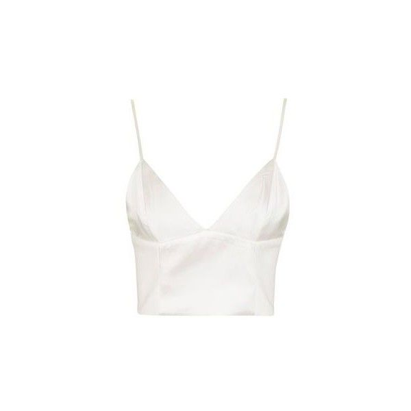 6ae81e2764871e TopShop Satin D-Ring Bralet ($42) ❤ liked on Polyvore featuring tops,  ivory, white top, satin crop tops, ivory top, going out crop tops and white  satin top