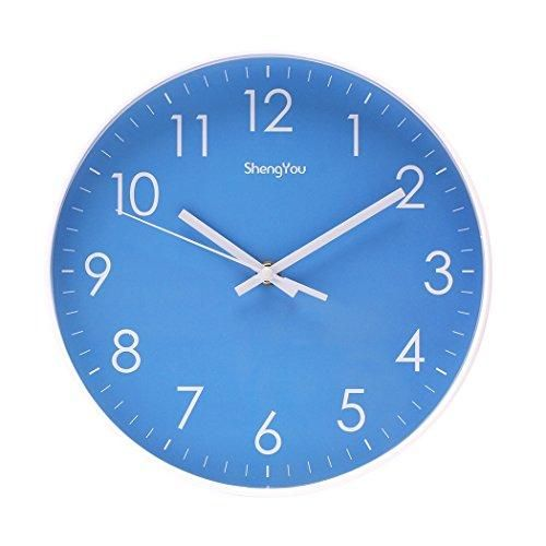 Sonyo Indoor Non Ticking Silent Quartz Modern Simple Wall Clock Digital Quiet Sweep Movement Office Decor 10 Inch Bluegreen Fotografi