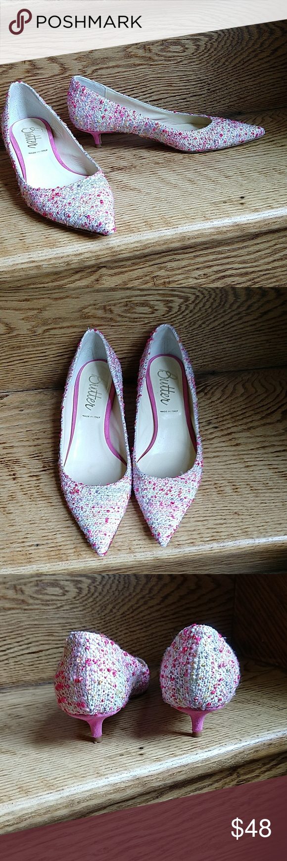 Butter Pink Tweed Kitten Heels Size 6 Kitten Heels Butter Shoes Kitten Heel Pumps