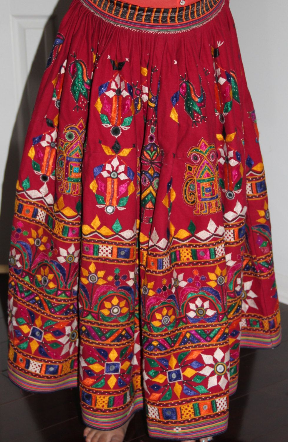 fd4a8d30e01f05 Beautiful Original Vintage Rabari Ghagra{Skirt} with Kutchi hand embroidery  accentuated with mirror work in Maroon colour by EleganceByRajul on Etsy