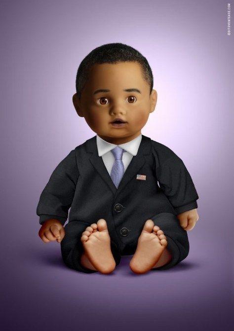 """Obama. Estas magníficas creaciones se las debemos al artista gráfico italiano Dito Von Tease, quien está encantando a todos con los modelos exactos de las celebridades, convertidas en hermosos muñecos. Los llamó """"iDolls"""" como resultado de combinar las palabras """"idol (ídolo)"""" y """"doll"""" (muñeca)""""."""